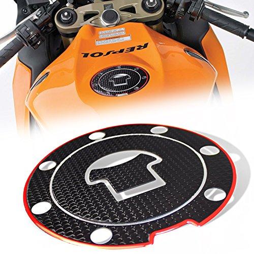 3D Gas Tank Fuel Cap Cover Protector Pad for Honda CBR-1000RR/600RR [Black & Red Trim] - Fuel Cap Pad