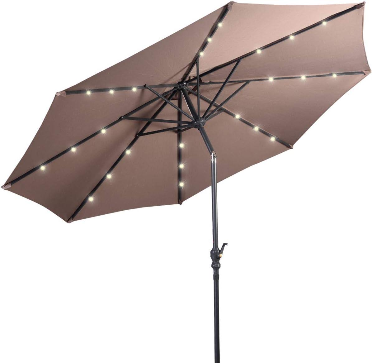 DREAMADE Parasol D/éport/é Inclinable de Jardin en Fer et Polyester 3M avec Manivelle Rotative 24 Lampes /à LED Panneau Solaire de 1,5W Rouge Vineux Beige Brun Beige