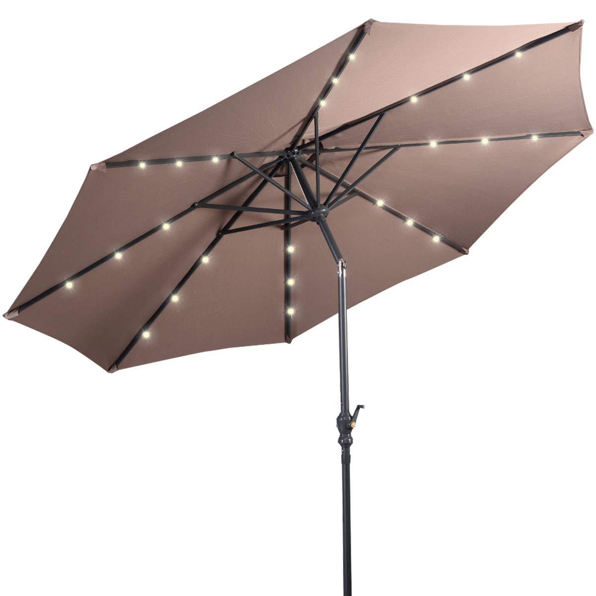 Giantex 10ft Solar Patio Umbrella Sunbrella with Lights, 8 Ribs Market Steel Tilt w/Crank for Garden, Deck, Backyard, Pool Indoor Outdoor Use