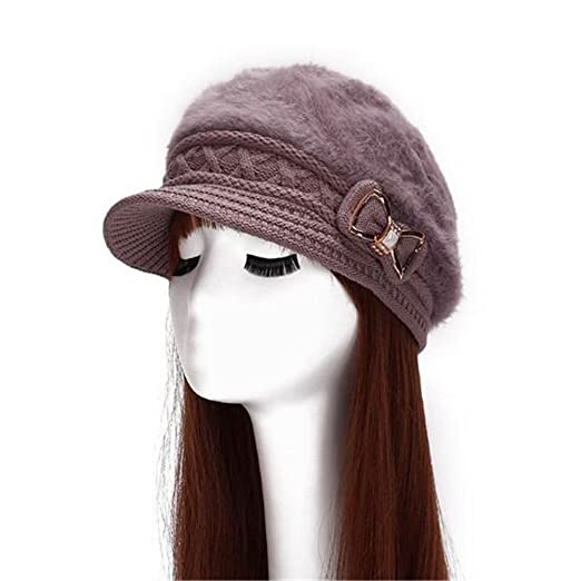 a0221e2bcf6 Women bowknot Beanies Knitted Hats (brown) at Amazon Women s ...