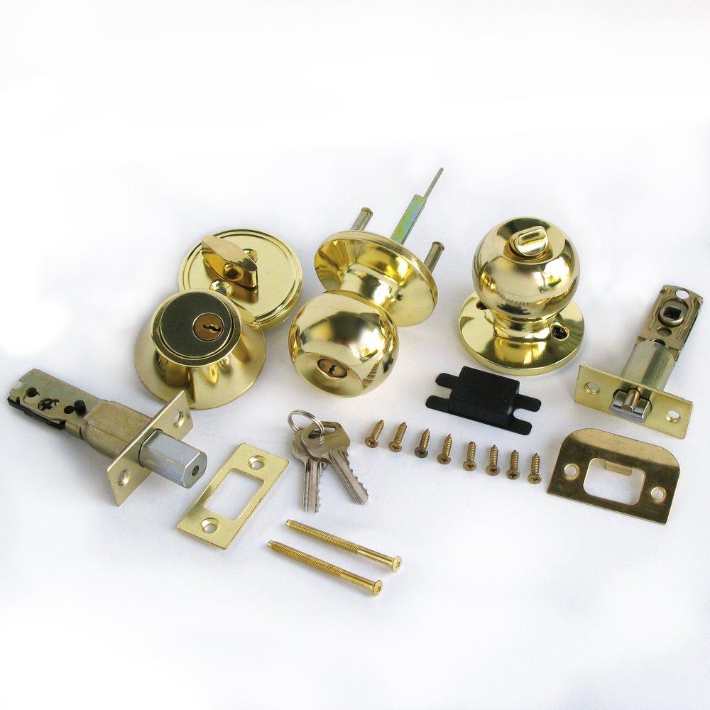 Single Cylinder Deadbolt Entrance Entry Round Door Knob Lock Combo Set Gold Color