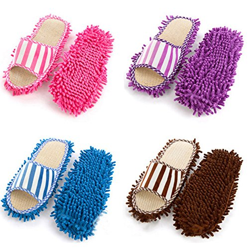 Fleece Mopping Slippers Be Washed Purple Can pink Lazy Coral Linen Chenille Shippers dXxId6U