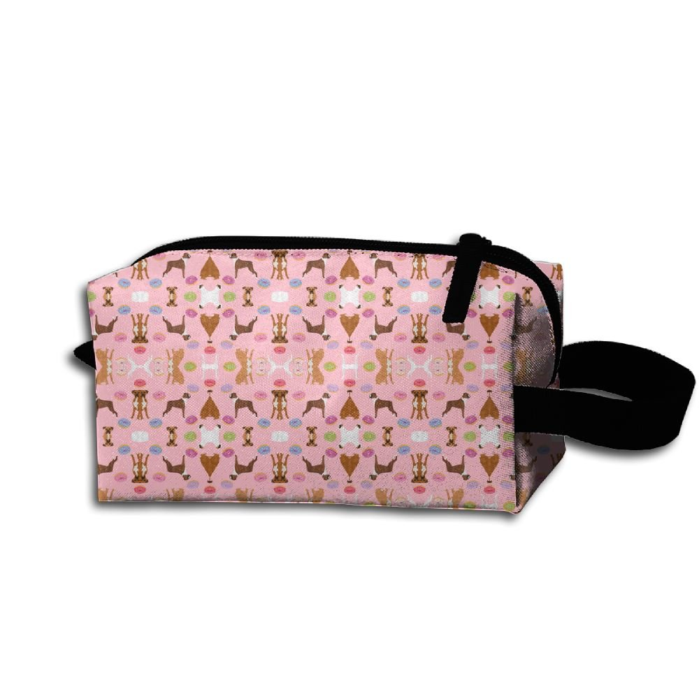 Hfoefgk Portable Travel Cosmetic Organizer Clutch Pouch Bag With Zipper Closure For Boxer Mixed Coats Dog Breed Doughnuts Fabri(2695) Flower Print