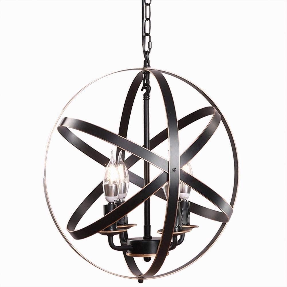"""Lika 4-Light Chandeliers 15.7"""" Farmhouse Rustic Industrial Pendant Lighting with Metal Spherical Shade Black Chandelier for Dining Room, Kitchen, Foyer… (Oil Rubbed Bronze)"""