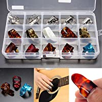 New 15pcs Multicolor Stainless Steel Celluloid Thumb Finger Guitar Picks With Case By KTOY