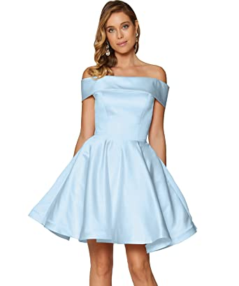 46ad117c563 Yilis Women s Off The Shoulder Satin Short Prom Homecoming Dress Mini Party  Gown (Baby Blue