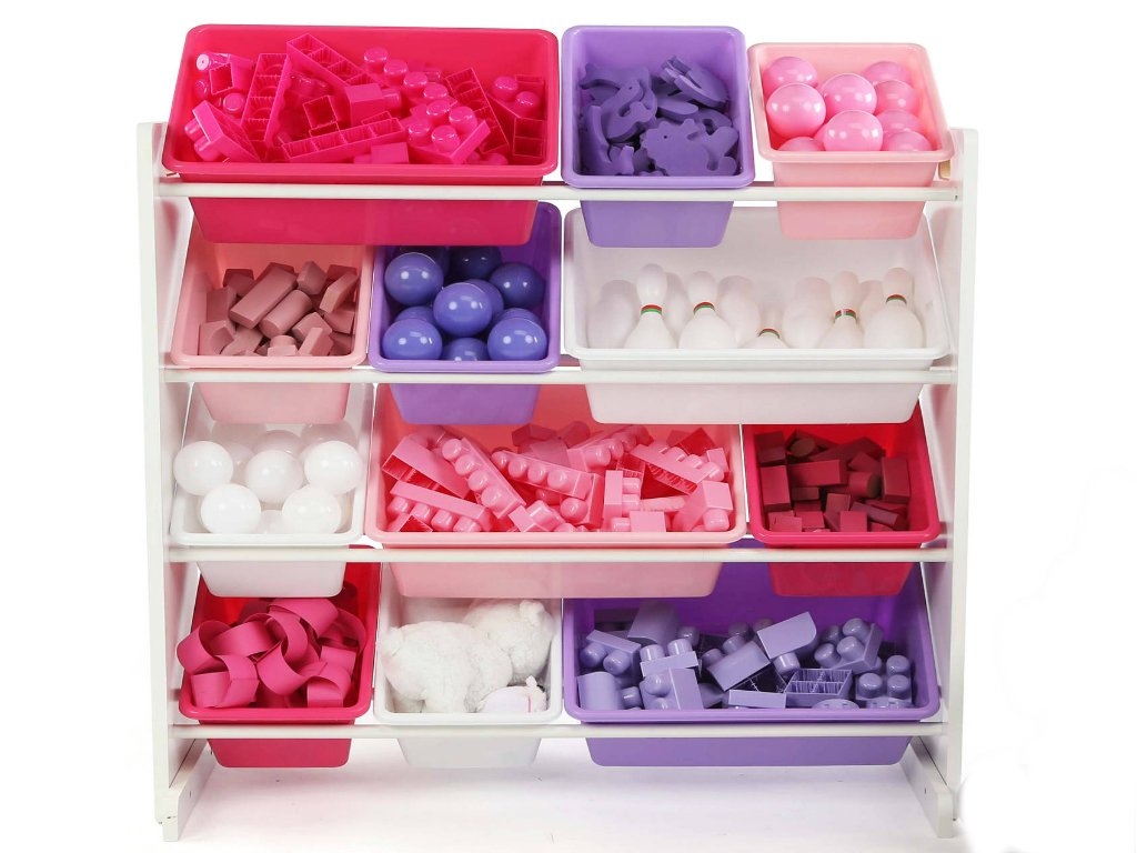 Kids Toy Sturdy Engineered Wood Construction Storage Organizer with 12 Plastic Bins in White/Pink/Purple Color