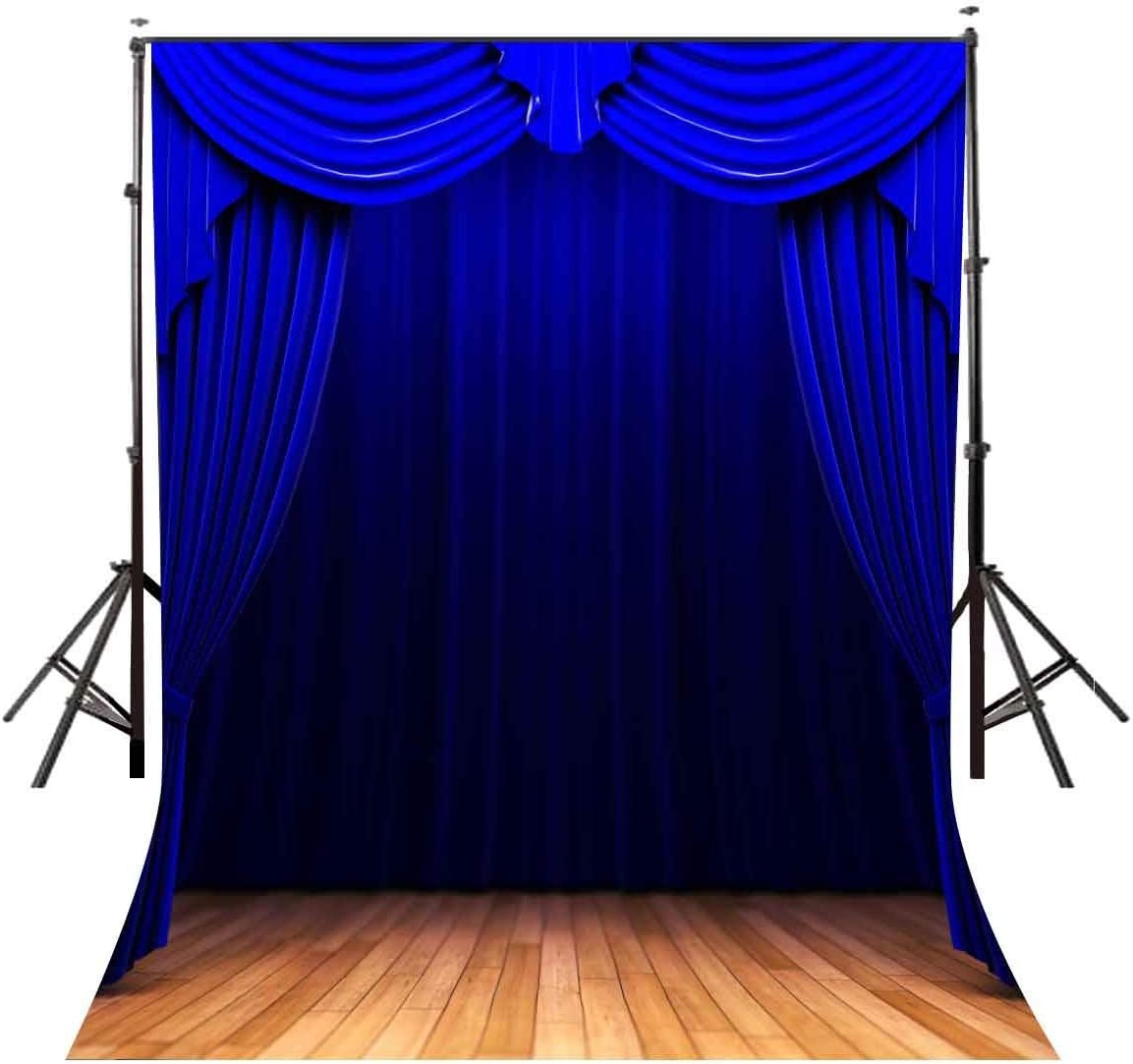 GoEoo 5x7ft Polyster Backdrop The Blue Stage Curtain Wood Floor Photography Background Photo Studio Props Wall LY073