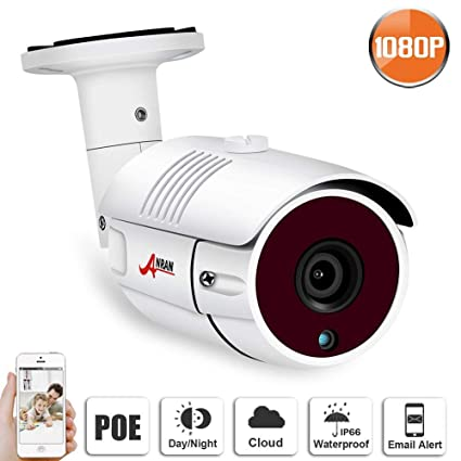 POE Security IP Camera,1080P Outdoor Video Security Bullet Camera with 2MP  High Resolution Remote View Phone App,Night Vision, Motion Alert, IP65