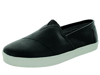5408a60ed8f58 TOMS Mens Avalon Slip On Black Full Grain Leather 42.5  Amazon.co.uk  Shoes    Bags