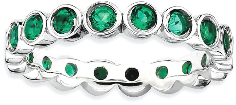 ICE CARATS 925 Sterling Silver Created Green Emerald Band Ring Size 10.00 Stone Stackable Gemstone Birthstone May Fine Jewelry Gift Set For Women Heart