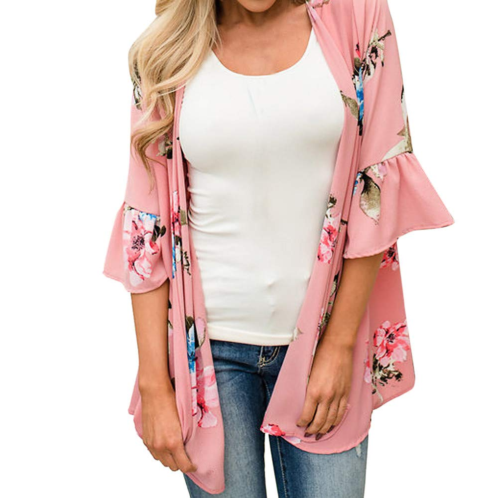 Womens Floral Chiffon Kimono Cardigans Loose Beach Cover Up Half Sleeve Blouse Tops (Pink,L2)