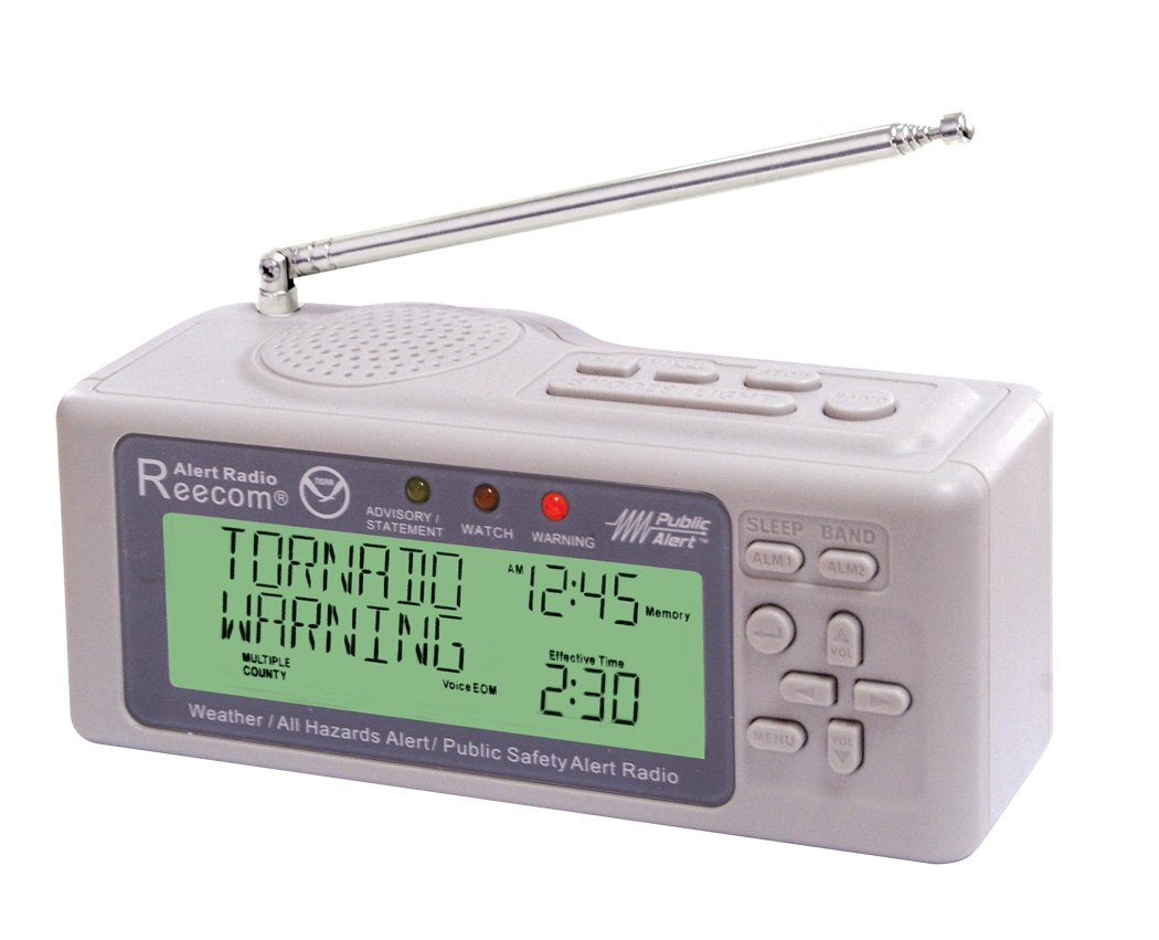 Unique Simultaneously Watch Multiple Channel Alerts (in Standby) with EOM Detection, Reecom R-500 Same Weather Alert Radio with AM/FM (Light Grey)