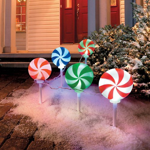 Christmas Pathway Lights.Peppermint Christmas Pathway Lights Landscape Path Lights