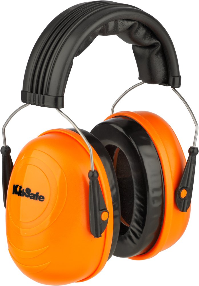 KidSafe Hearing Protector Over-the-Head Earmuffs by TASCO, NRR 25, Made in USA, Orange