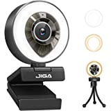 1080P HD Webcam with Light and Microphone, JIGA USB Streaming Camera Adjustable Brightness Auto-Focus Privacy Protection for