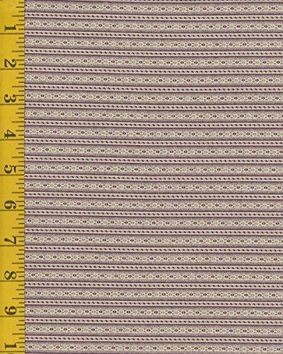 Quilting Fabric - Marcus Fabrics Putty & Mortar 2531-0177 Wallpaper Stripe - Plum