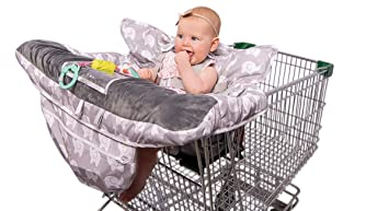 2-in-1 Baby Shopping Cart Cover and High Chair Protector - Germ-Protecting Seat Covers for Grocery Carts, Restaurant High-Chairs - Universal, Soft, ...