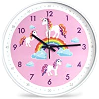 Wall Clock 12 Inch Non-Ticking Colorful Decorative Wall Clock Quiet Wall Clocks for Kids Girls Boy Living Room Pink