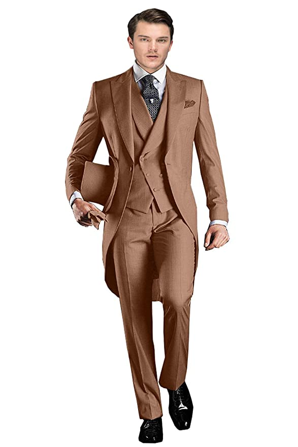 Men's Vintage Style Suits, Classic Suits Wemaliyzd Mens Classic Fit 3 Pieces Tuxedo Suit Long Tail Jacket Waistcoat Pants $84.79 AT vintagedancer.com