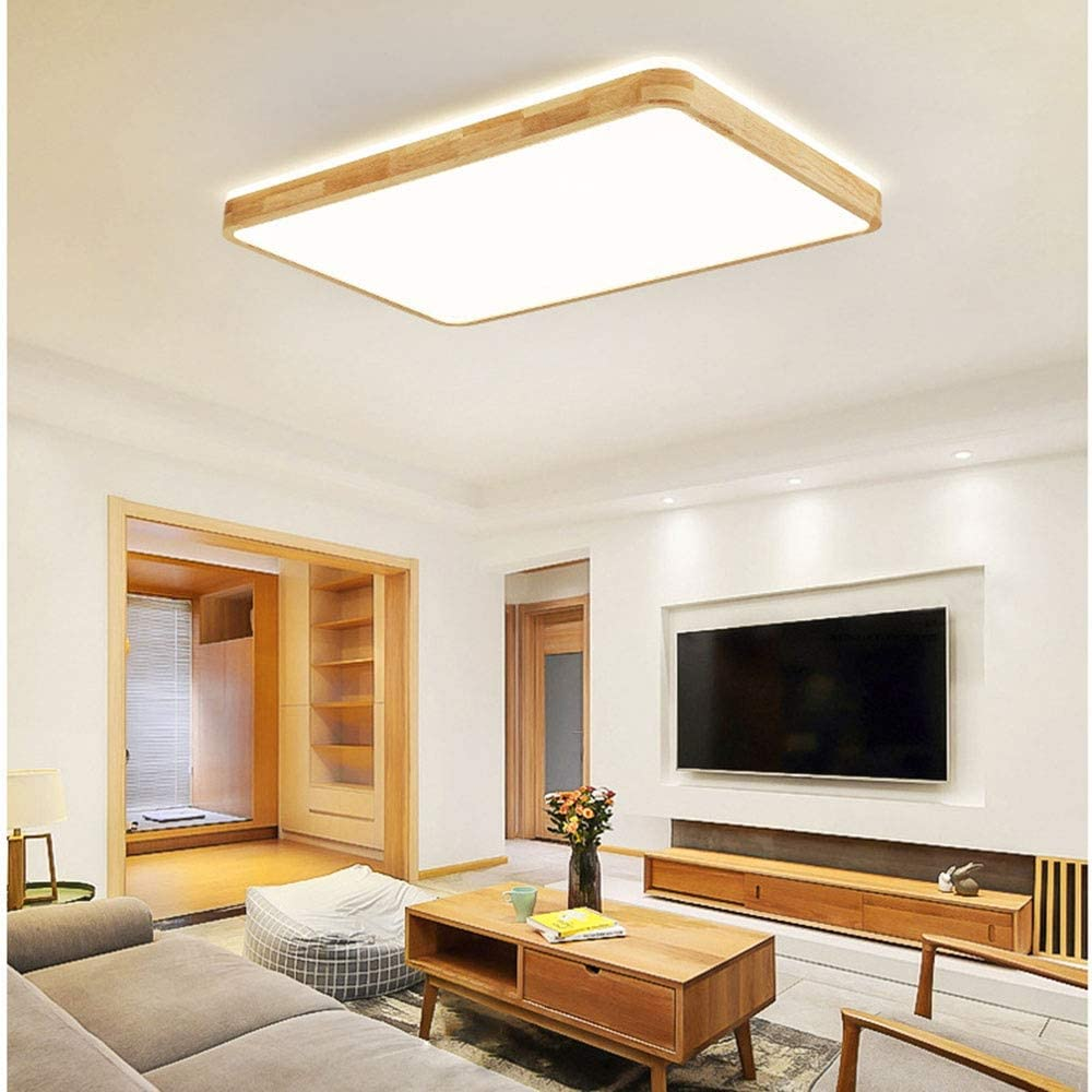 RHTCEN 60W LED Deckenleuchte Top 360 /° Glow Deckenlampe Innenbeleuchtung f/ür Wohnzimmer Schlafzimmer B/üro L60 * W40 * H6cm 3000K Warmes Licht 5400lm 6cm Ultrad/ünnes Rechteckige Holz Deckenleuchte