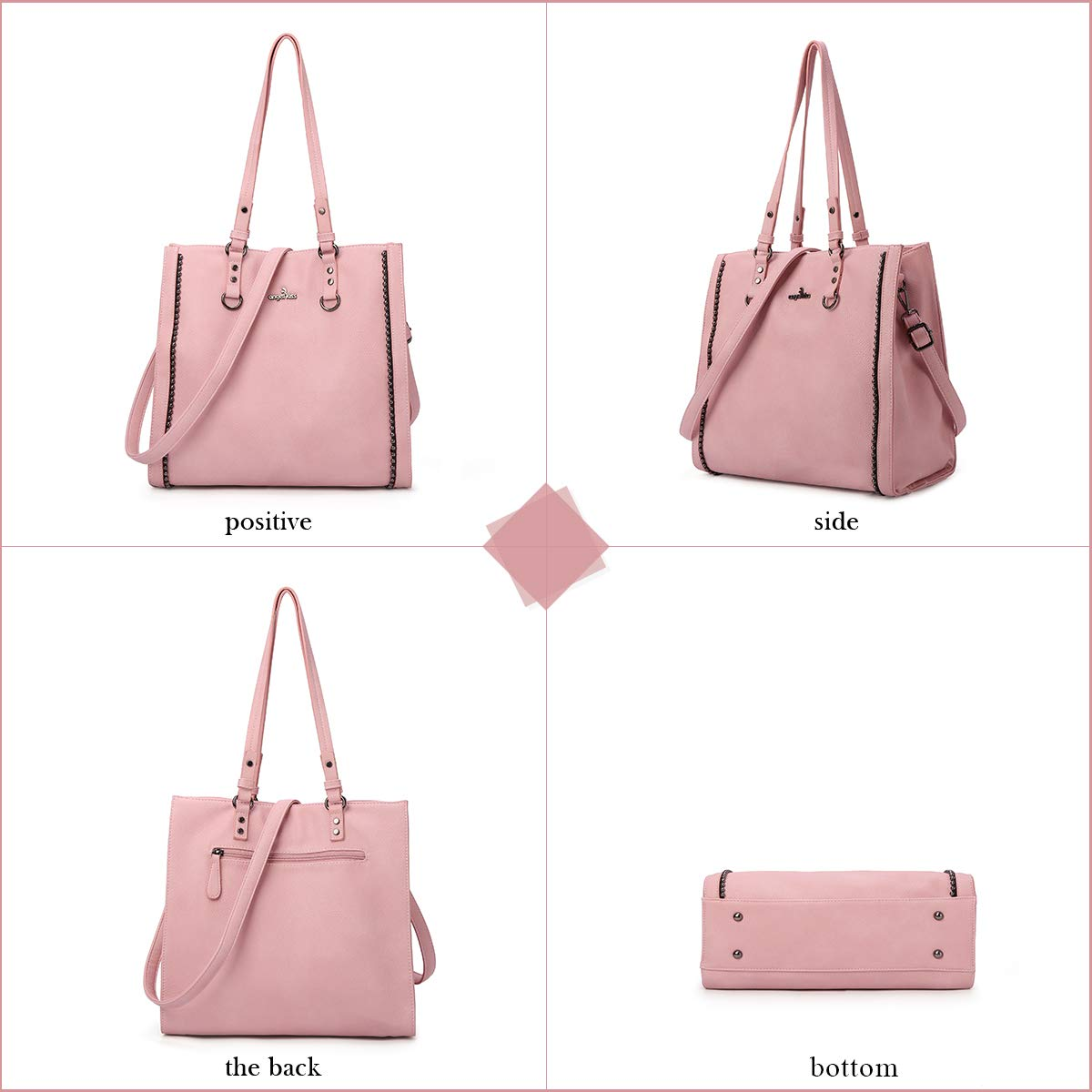 Angelkiss Womens Soft PU Leather Classic Tote Bag Top Handle Shoulder Handbags and Purses with Zipper