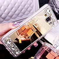 J3 Case, Express Prime Case, ikasus Plating Bling TPU Mirror Back Case Skins,Luxury Crystal Rhinestone Soft Rubber Bumper Bling Diamond Glitter Mirror Makeup Case Cover for Galaxy J3 / Express Prime