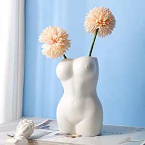 Flower Vase, Body Flower Vase ,White Plated Glossy Vase,Hand-Plated Made Sculpture Vase,Decor Vase for Home Office Wedding Party Holiday