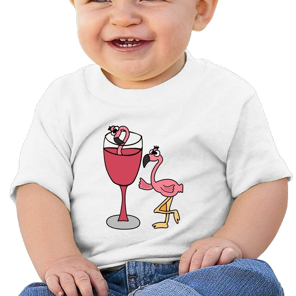 BuecoutesPink Flamingo in Blush Wine Glass Toddler//Infant Short Sleeve Cotton T Shirts White