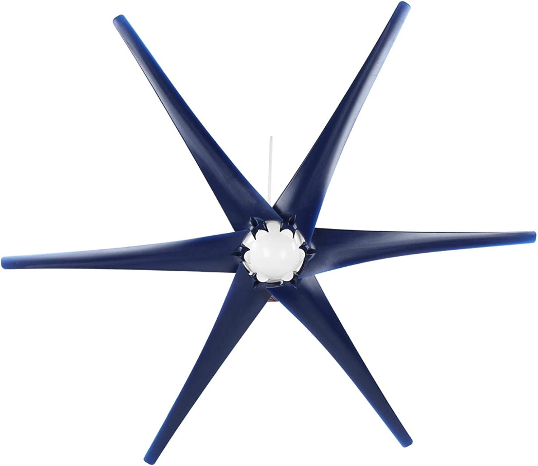 Generador de viento de 6 palas 400W, aerogeneradores portátiles eficaces, para terrazas de barcos(blue, 24V)