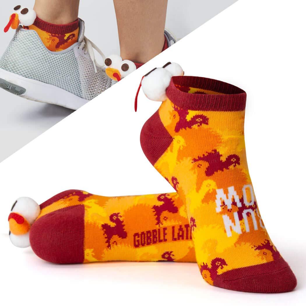 Thanksgiving Turkey Socks ChalkTalkSPORTS Gone For a Run Holiday Athletic Running Socks Woven Low Cut