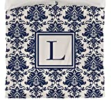 Manual Woodworkers & Weavers Duvet Cover, Twin, Monogrammed Letter L, Blue Damask
