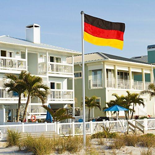Brubaker - Asta para banderas (aluminio, 6 m, con tubo para sujeción a tierra, incluye bandera de Alemania 150 x 90 cm: Amazon.es: Jardín