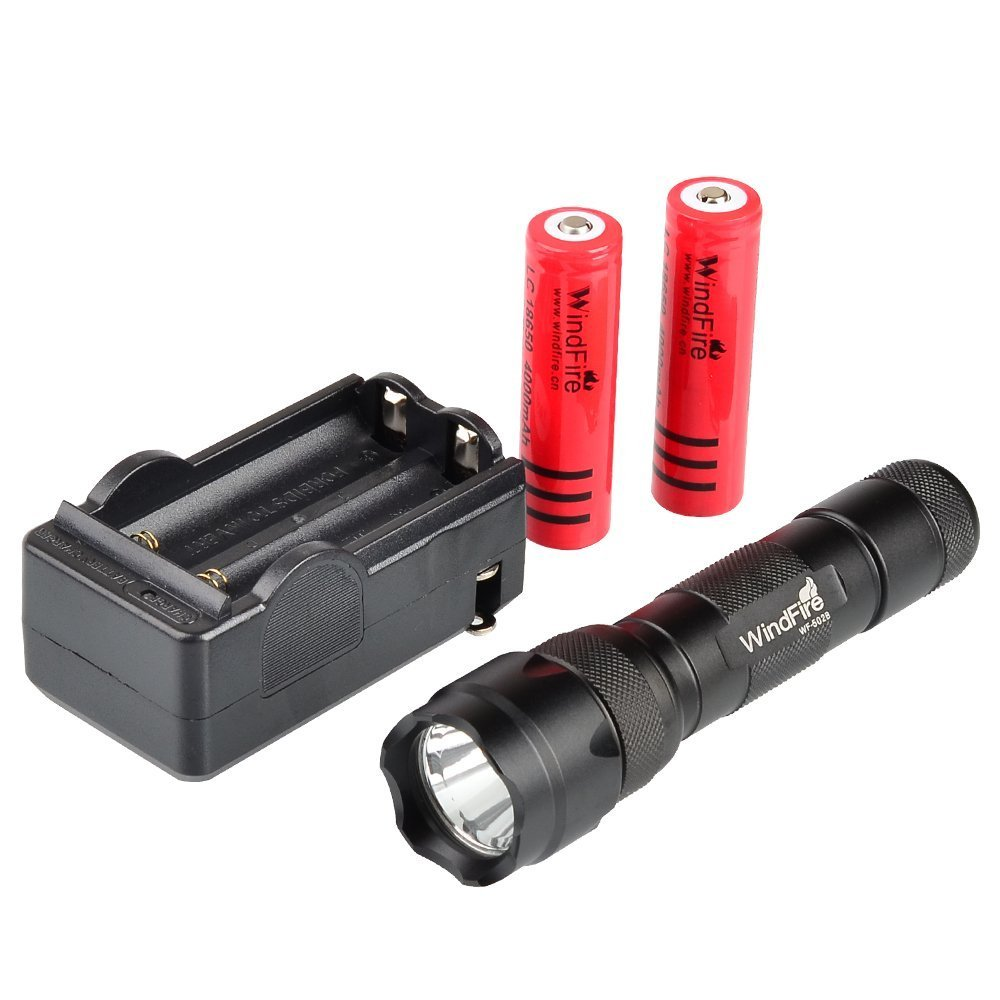 WindFire New Wf-502b Cree Xm-l T6 LED 1000 Lumens 1 Mode Flashlight Torch plus 2x WindFire 4000mAh 18650 Rechargeable Batteries and Smart AC Charger for Camping, Hiking, Hunting & Indoor Activities.