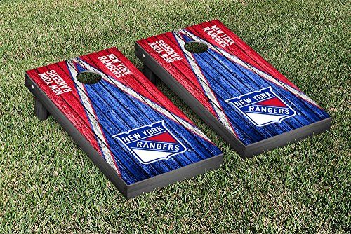 New York Rangers NHL Regulation Cornhole Game Set Weathered Triangle Version by Victory Tailgate