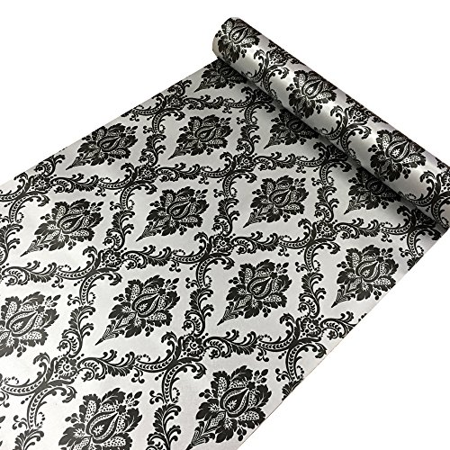 SimpleLife4U Retro Black Damask Contact Paper Self-Adhesive Shelf Liner Light Grey Table Dresser Decor Sticker 17.7 Inch By 9.8 Feet