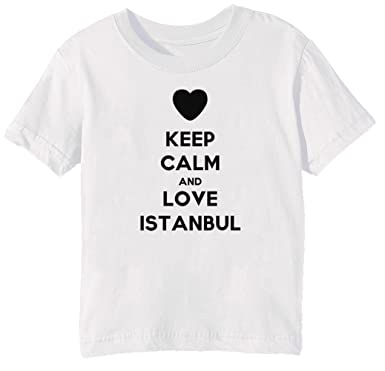 Keep Calm And Love Istanbul Kinder Unisex Jungen Mädchen T-Shirt Rundhals  Weiß Kurzarm Größe