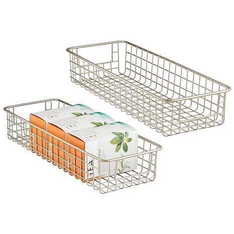 auch als Schrankkorb geeignet Speisekammer etc mattschwarz in der K/üche mDesign 2er-Set Drahtkorb aus Metall breiter Allzweckkorb zur Aufbewahrung auf der Arbeitsplatte