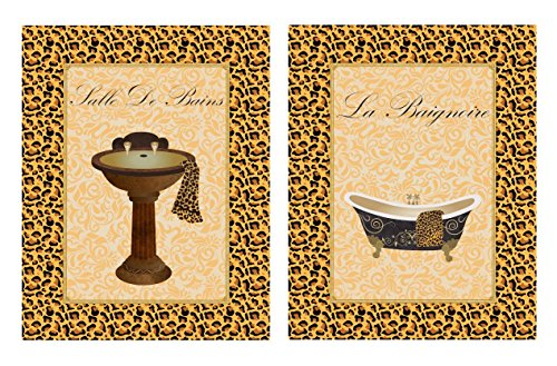 Set of 2 Leopard Animal Print Classy French Bathtub Sink Bathroom Wall Decor 8x10 Inches
