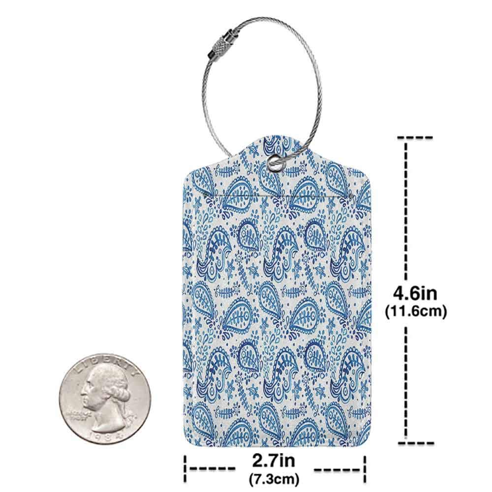 Personalized luggage tag Paisley Decor Floral Watercolor Painting Effect Ikat Style Theme Easy to carry Navy Blue Indigo White W2.7 x L4.6