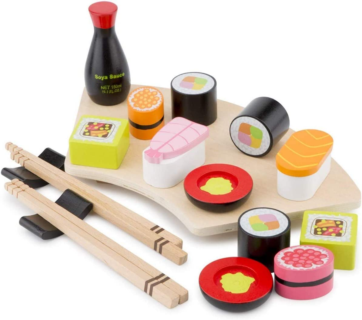 New Classic Toys Wooden Pretend Play Toy for Kids Sushi Set Cooking Simulation Educational Toys and Color Perception Toy for Preschool Age Toddlers Boys Girls