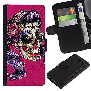 Be-Star la tarjeta de Crédito Slots PU Funda de cuero Monedero caso cubierta de piel Para Samsung Galaxy S3 III I9300 ( Pink Sunglasses Skull Funny Metal Rock )