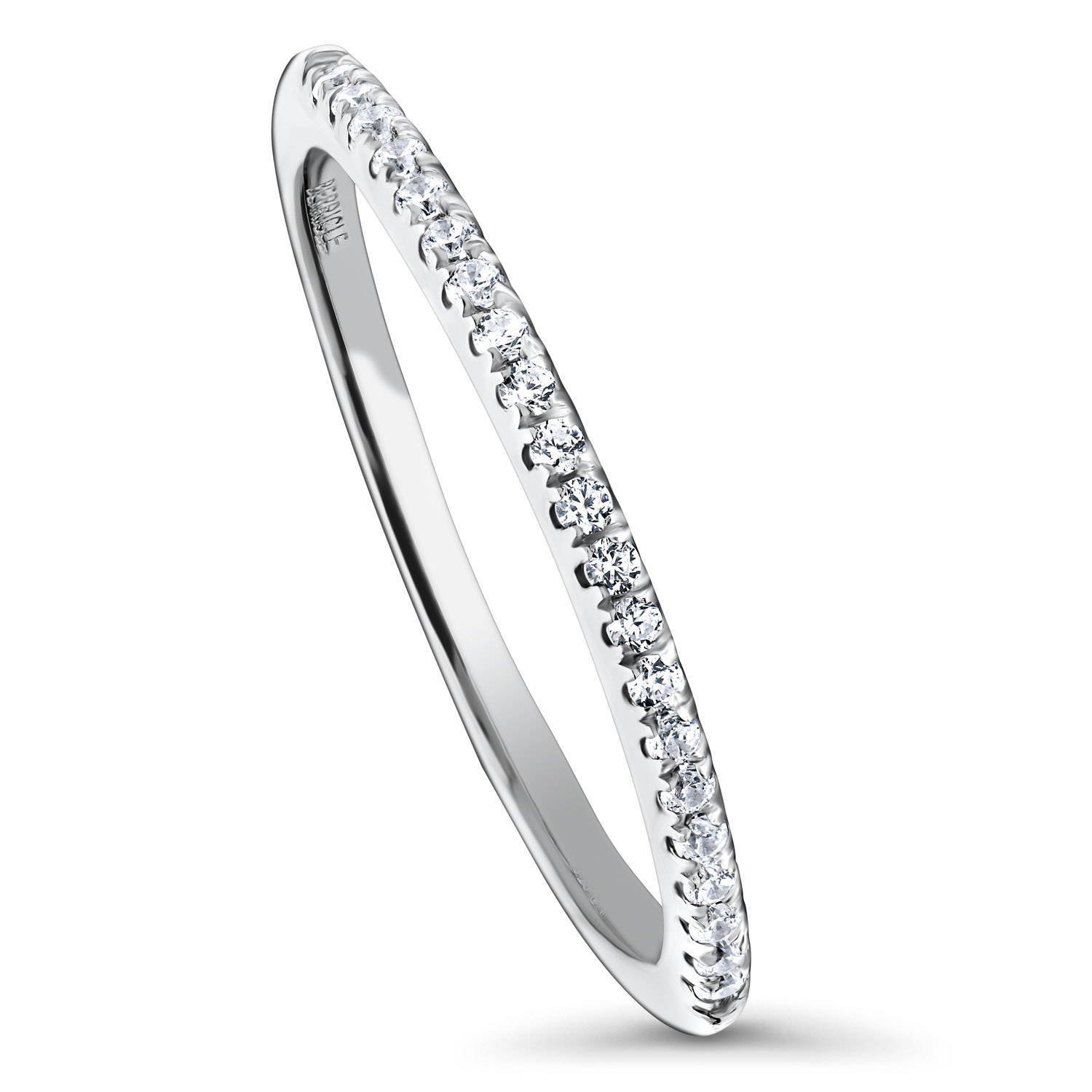 BERRICLE Rhodium Plated Sterling Silver Cubic Zirconia CZ Anniversary Half Eternity Band Ring Size 9