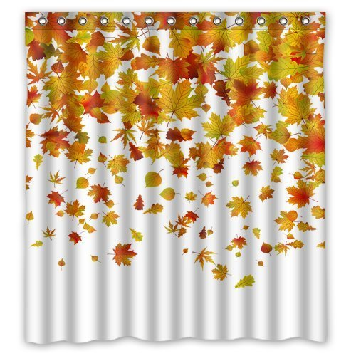 66 x 72 Falling Maple Leaves Waterproof Polyester Fabric Bathroom Shower Curtain by Qearl