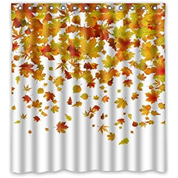 FMSHPON Autumn Falling Maple Leaves Polyester Fabric Bathroom Shower Curtain Size 66 x 72 Inches