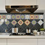 AmazingWall Mix Flower Wall Sticker Tile Furniture Decor Peel and Stick Easy To Apply Bathroom Kitchen Decal 7.87x7.87 10 Pcs/set