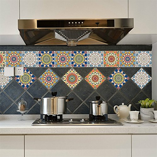 Wall Floor Decor Backsplash - AmazingWall Mix Flower Wall Sticker Tile Furniture Decor Peel and Stick Easy To Apply Bathroom Kitchen Decal 7.87x7.87
