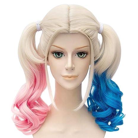 Película Suicide Squad Harley Quinn Cosplay peluca con cola de caballo rosa y azul Pigtails Twintails
