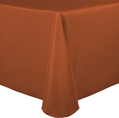 Amazon Com Ultimate Textile 60 X 102 Inch Oval Polyester Linen Tablecloth Burnt Orange Home Kitchen