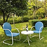 Crosley Furniture Griffith 3-Piece Metal Outdoor Conversation Set with Table and 2 Chairs